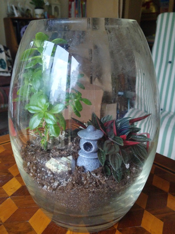 photo of terrarium with small pagoda inside