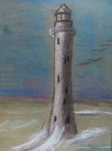photo of pastel drawing of lighthouse