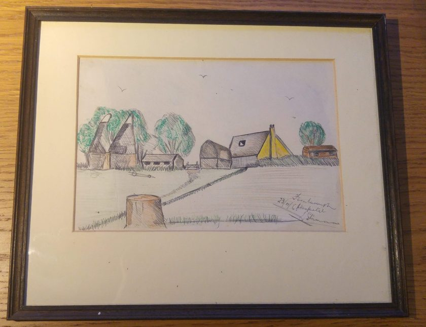 pen and ink drawing of Kentish rural scene