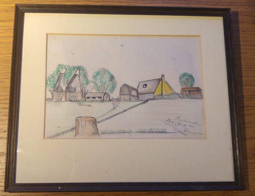 pen and ink drawing of Kentish rural scene