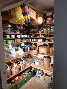 interior shot of tidy walk-in larder
