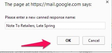 Gmail Canned Response