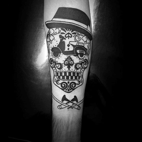 Feather Top Hat Tattoo Skull