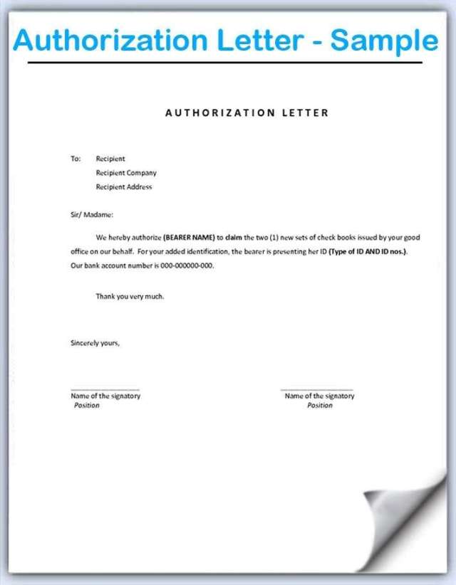 Sample Authorization Letter Franklin