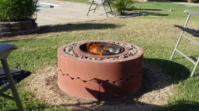 Concrete Tree Rings Fire Pit