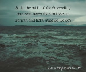 So, in the midst of the descending darkness, when the sun hides its warmth and light, what do we do-