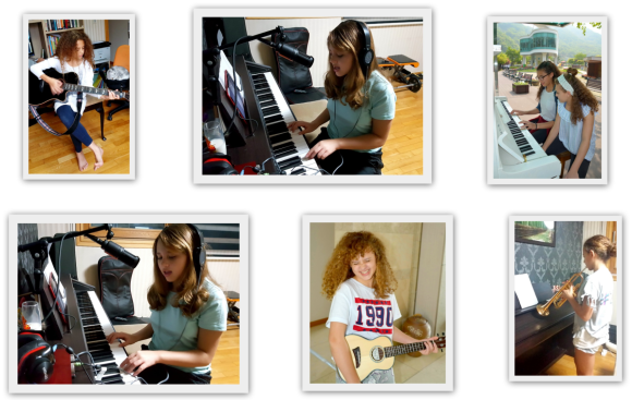 Alize Reed playing the guitar, piano, trumpet and ukulele Don't worry be happy