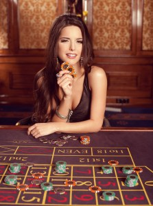 Girl playing in casino.