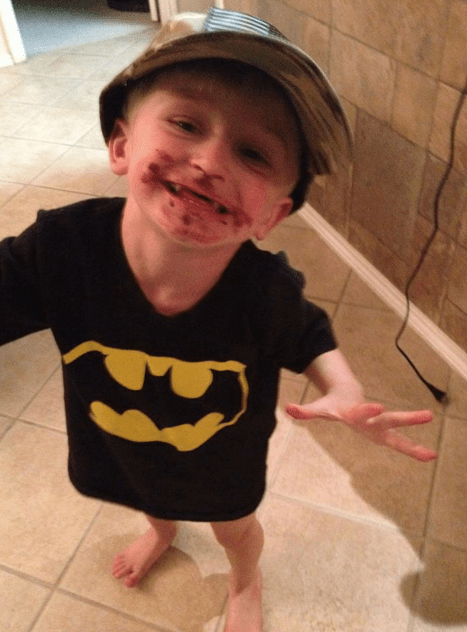 Guess who found Daddy's chocolate?