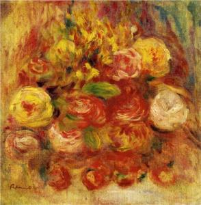 Flowers in a vase with blue decoration by Renoir
