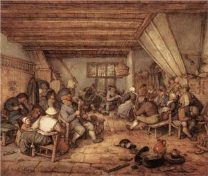Feasting peasants in a tavern by Adriaen Jansz Ostade