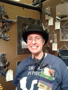 Me and my new cunning hat in the Art Show.