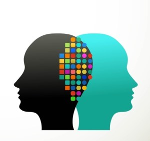 colorful graphic of two heads communicating back to back