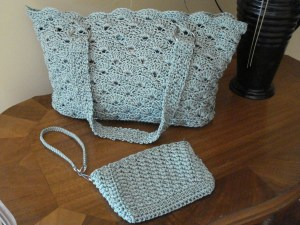 Aqua Rippled Shells Purse