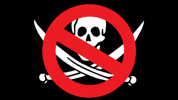 No pirates. Pirate flag with red line through it.