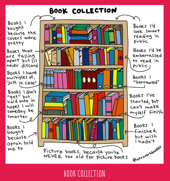 """book collection"" comic by introvert doodles"