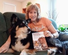author s.m. stevens and dog korra with lions and tigers and hamsters book by mark goldsstein