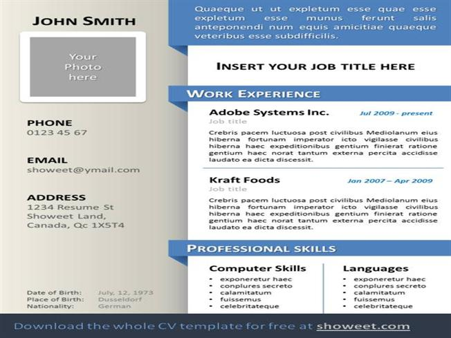 cv and resume ppt
