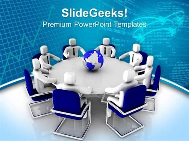 TEAMWORK 3D MEN SITTING ON ROUND TABLE PPT TEMPLATE