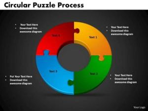 4 STAGES CIRCULAR PUZZLE PROCESS EDITABLE FLOW CHART SLIDESPowerPoint Diagram