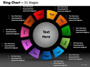 3D 11 STAGES CIRCULAR PROCESS CHART BUSINESS STRATEGY