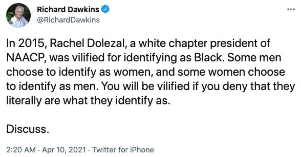 Richard Dawkins tweet transgender and transracial Rachel Dolezal