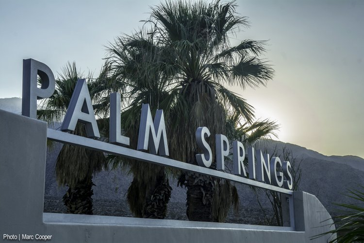 sign for palm springs family visit