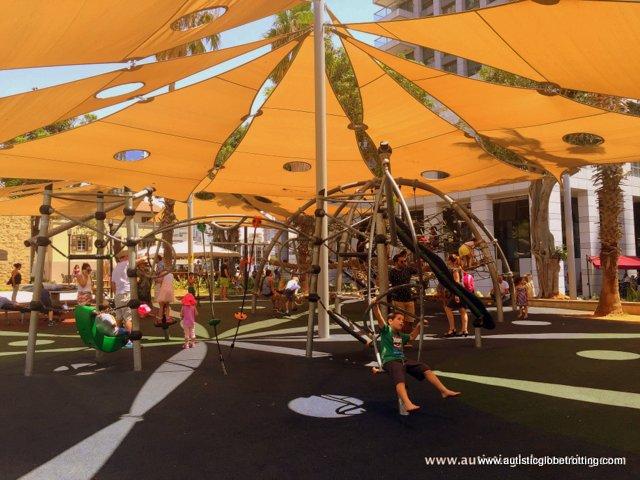 Exploring Tel Aviv's New Food Market Sarona with Family play