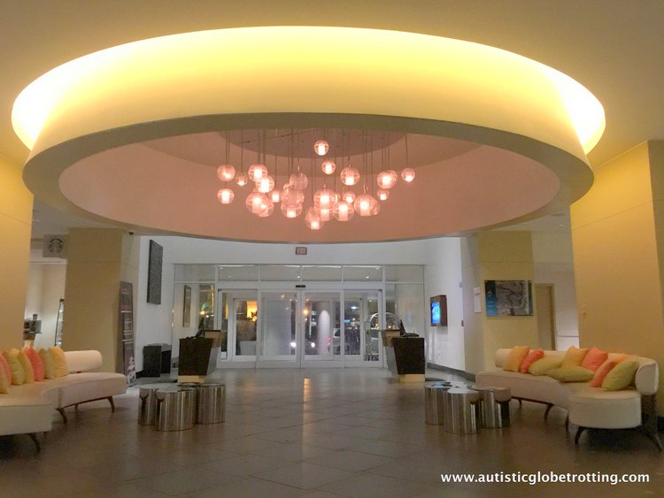 Staying with Family at Hilton Fort Lauderdale Marina lobby