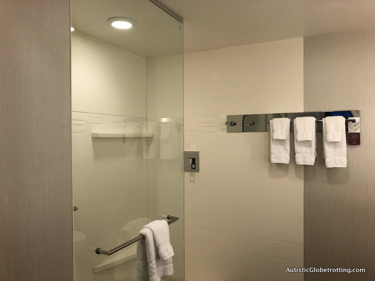 Residence Inn San Jose Cupertino caters to Autism Families glass enclosure shower
