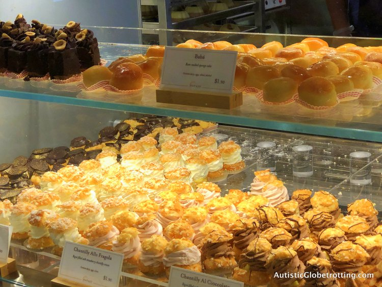 Exploring Eataly in Los Angeles with Autism cakes to eat