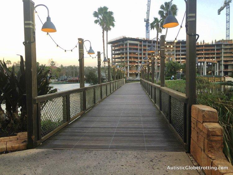 Disney Coronado Springs Resort Tips for Families bridge across to el centro