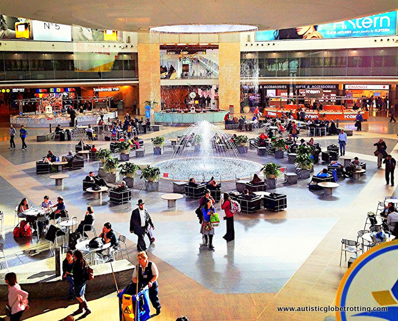 Israel's Ben Gurion Airport with Kids fountain