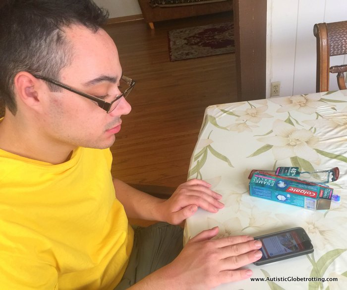 Colgate® and MagnusCards™ Make Life with Autism Easier jeff with cards