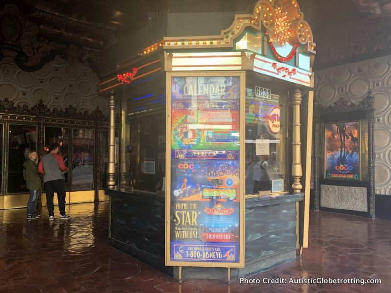 Visiting Hollywood's iconic El Capitan Theatre with Kids ticket booth