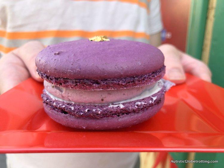 Attending Disneyland's Lunar Year Celebrations with Autism purple macaroon