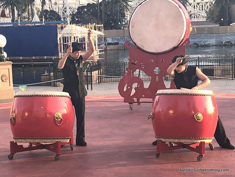 Attending Disneyland's Lunar Year Celebrations with Autism famous gum gum drummers