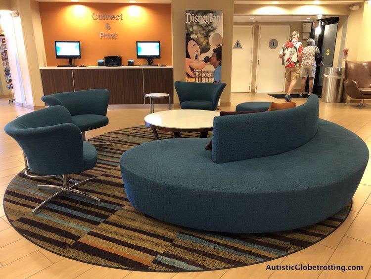 Family Friendly Fairfield Inn Anaheim lobby blue round sofa