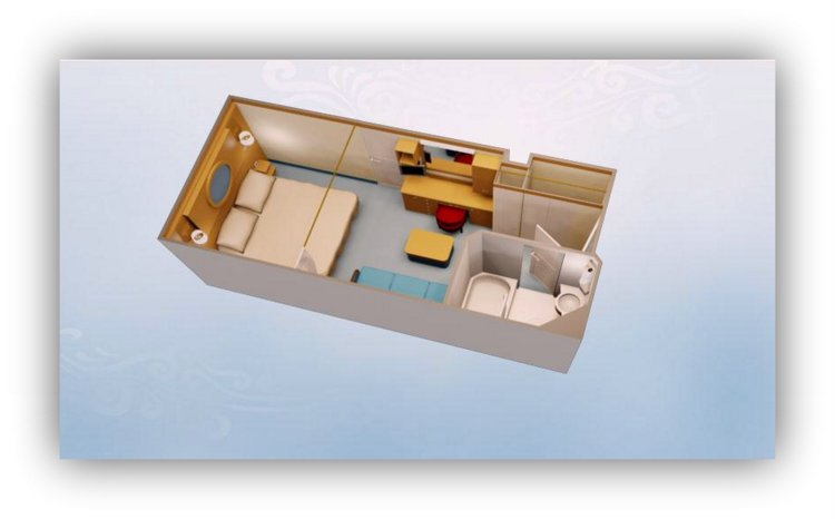 disney deluxe family oceanviewstateroom with verandah simulation of cabin