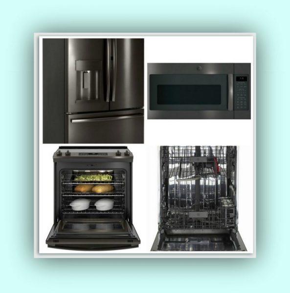 GE kitchen, GE Black Stainless Kitchen, kitchen shell matt fridge