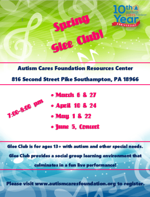 Spring Glee Club! @ Autism Cares Foundation Resources Center | Southampton | Pennsylvania | United States