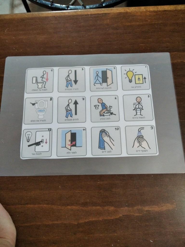 כרטיס ניווט לסדר פעולות בשירותים - תמיכה חזותית גמילה מחיתולים