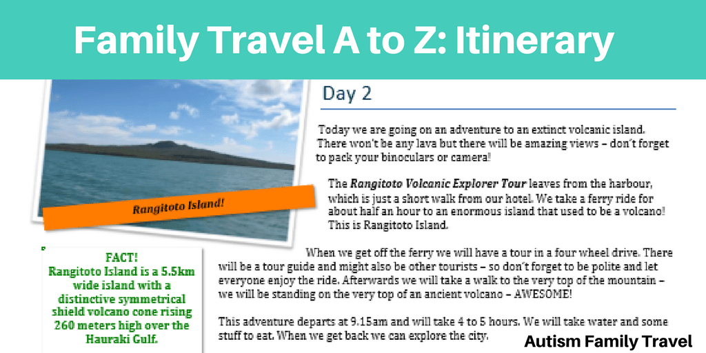Family Travel A to Z: Itinerary (Featured) - autismfamilytravel.com