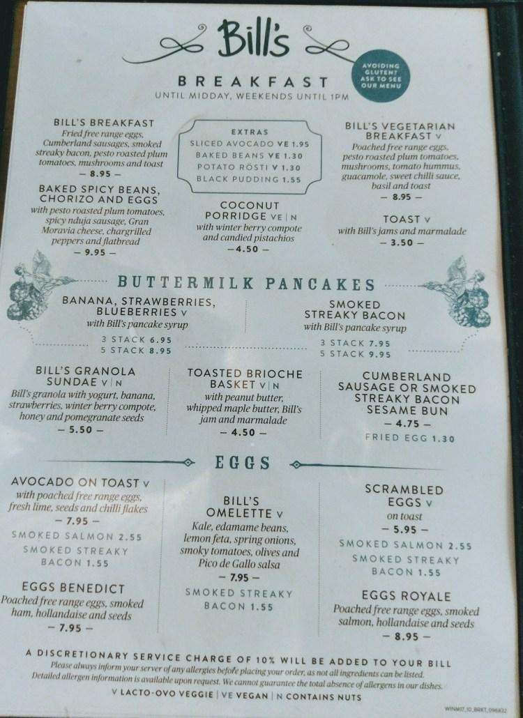 The breakfast menu at Bill's, Manchester
