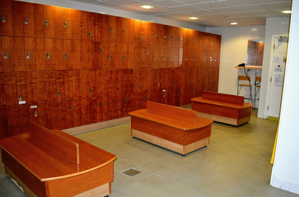 Changing room with lockers along the wall