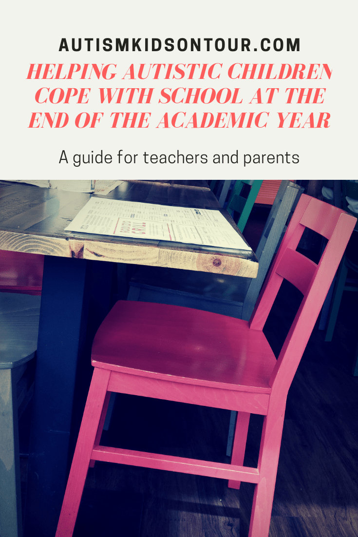 Helping autistic children cope with school at the end of the academic year, a guide for teachers and parents. A picture of a chair and table