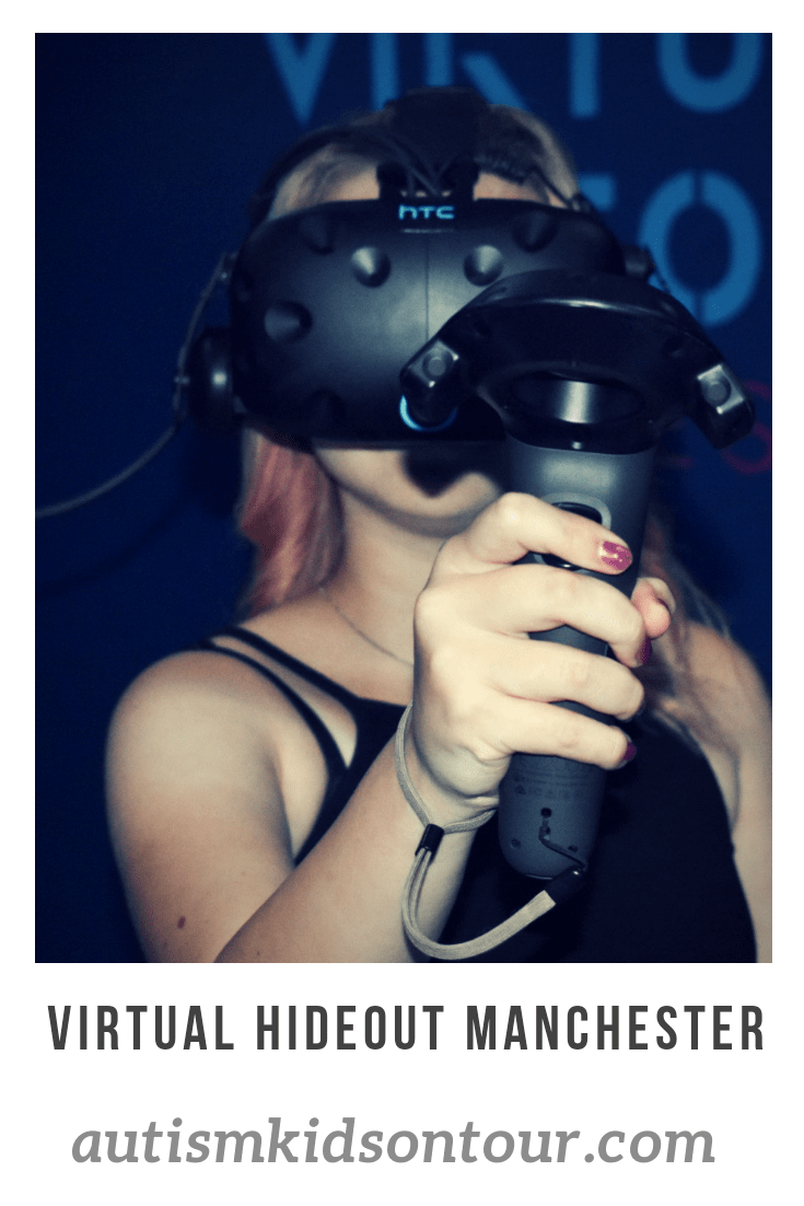 A girl in a VR headset with the words