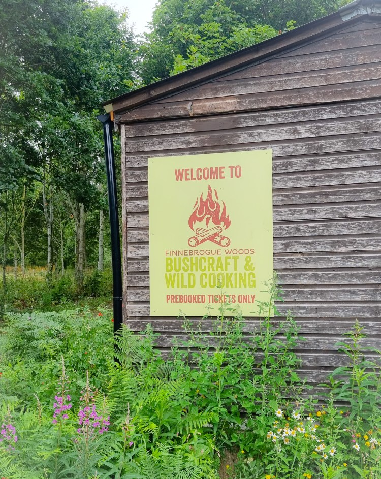 Welcome to bushcraft and wildcooking finnebrogue woods sign
