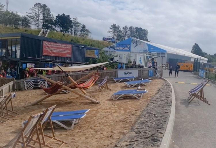 The changing area at Lets go Hydro inflatable water park in Northern Ireland. Giant inflatables on the lake to play on.