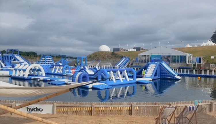 Lets go Hydro inflatable water park in Northern Ireland. Giant inflatables on the lake to play on.
